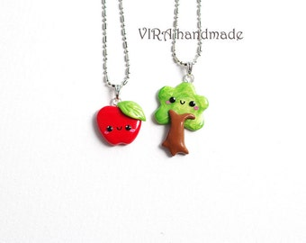 Kawaii Apple and Tree Best Friends Necklaces or Earrings
