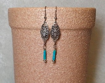 Boho Chic Gypsy Turquoise Earrings - Turquoise and Silver Earrings - Boho Chic Gypsy Jewelry - Native American Inspired