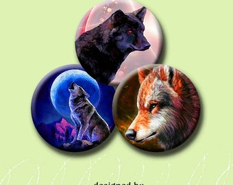 MYSTICAL WOLF - Digital Collage Sheet 30mm circle images for pendants, round bezels, scrap-booking, etc. Instant Download #164.