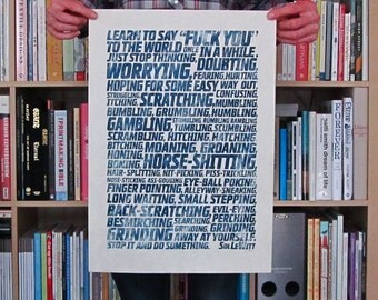 Do Something (Sol LeWitt) - woodcut print