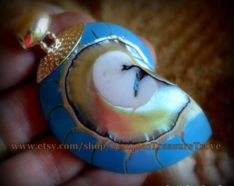 Natural Nautilus shell slice/ 925 Bali silver with beautiful turquoise resin back fill focal bead pendant Sacred Geometry (item NSR-TS)