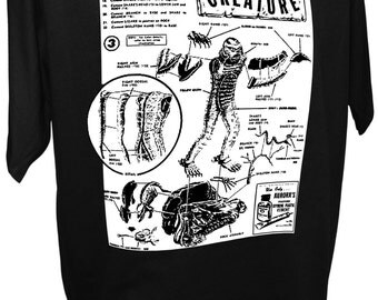 MEN'S The Creature Black Lagoon Monster Model Intructions Classic Horror Movie T Shirt