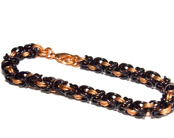Copper and Black Byzantine Chainmaille Bracelet