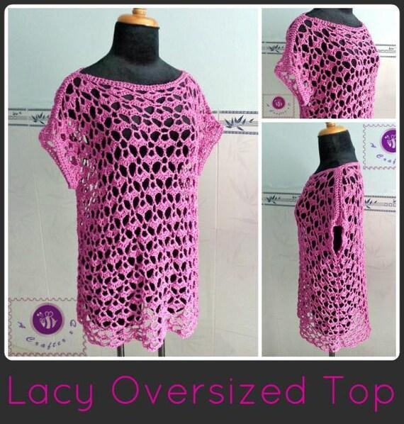 Lacy oversized top pdf crochet pattern ( size 2XS - 2XL )