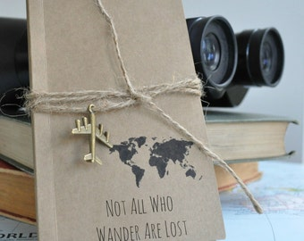 Not all who wander notebook, travel, pocket notebook, mini notebook, Not all those who wander, travel diary, map travel journal, handmade
