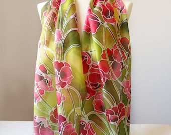 Silk scarf Poppy - hand painted scarves - poppies scarf - red poppy - green scarf - Art Nouveau