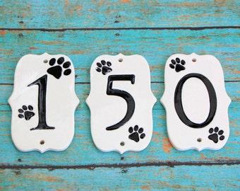 Handmade Ceramic Paw Print House Numbers, Paw House Numbers, Dog House Numbers, Cat Lover Numbers, Dog Numbers, Ceramic Numbers