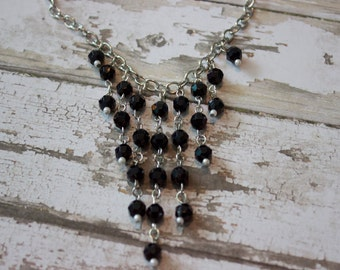Beaded Statement Necklace, Chandelier Necklace, Dangle Necklace, Cascading Bead Necklace
