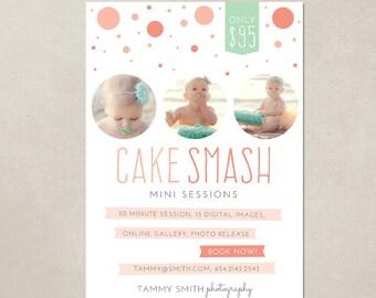 Mini Session Cake Smash Birthday Marketing board MC001 - Template for Photographers - PSD 5x7