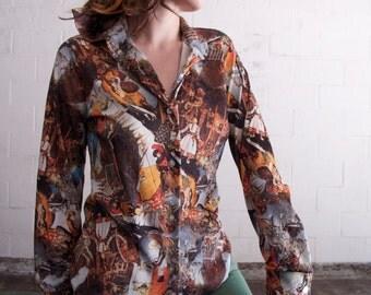 Vintage 70's Novelty Button Up Ethnic Leda & Swan Blouse Shirt Brown Tan Orange