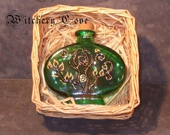 Hand painted Potion Bottle (Empty) Emerald green with Goddess in gold and black. Witch Bottle Spell Bottle