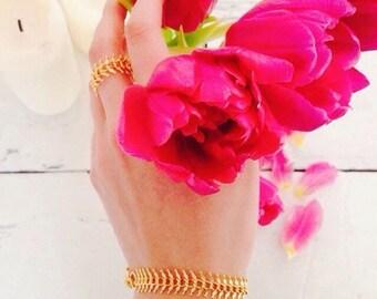 ISIS - gold chain bracelet, gold bracelet, delicate bracelet, gold jewelry, boho chic jewelry, small and delicate bracelet,18k gold bracelet