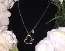 "Heart and Arrow 34"" Chic Boho Trendy Charm Necklace"