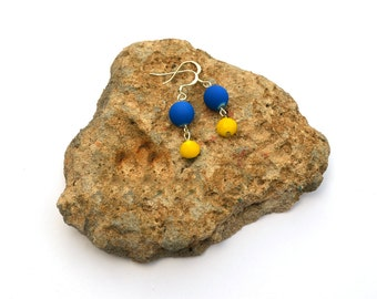 blue and yellow earrings / blue bead earrings / blue earrings / yellow and blue / necklace and earrings set / cobalt blue / bright blue