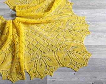 Knitted yellow lace shawl, Yellow wool shawl, Knitted yellow lace wrap, Knitted wrap, Rustic lace shawl, Wool lace wrap, Boho wool shawl
