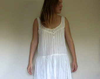 Vintage White Peasant Mini Dress