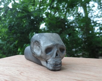 Skull Pipe Skull Effigy Ceramic Pipe Tobacco Pipe Smoking Pipe  Ceramic Pipe Pit Fired One of a kind unique