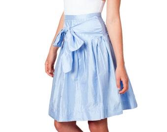 SALE - Blue Skirt, Baby Blue, Full Skirt, Silk Skirt, Pleats, Big Bow, High Waist, Dupioni Silk, Silk Taffeta, Shantung Silk, Knee Length