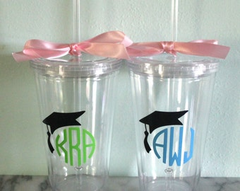 Monogram Graduate 16 oz. Acrylic Tumbler with Straw - Perfect Graduation Gift!