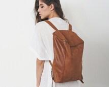 Sale 15% Off Brown Leather Backpack, Laptop Bag, Travel Bag, School Bag, Honey Brown Leather Bag, Handmade