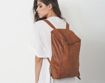 Sale 15% Off Brown Leather Backpack, Laptop Bag, Travel Bag, School Bag, Honey Brown Leather Bag, Handmade