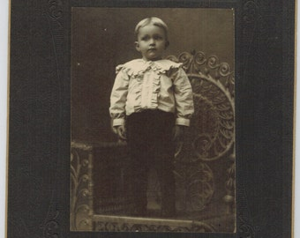 Antique Photo Young Boy Identified as Leslie Ellis Card Mounted 1900s