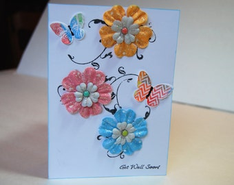 Get Well Soon Handmade Card, Brighten Their Day with Flowers and Butterflies