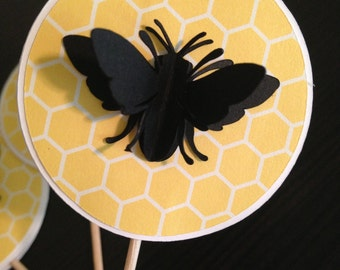 Bumble Bee Cupcake Toppers, Bee Cupcake Toppers