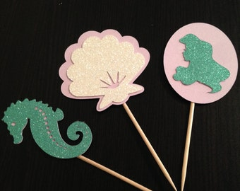 Mermaid Cupcake Toppers, Shell Cupcake Toppers, Under the Sea Cupcake Toppers, Ariel Cupcake Toppers, Disney Princess Cupcake Toppers