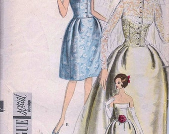 50s Wedding dress pattern special design 4185 Vogue Bridal, bridesmaids dress Bust 34 inches Vintage