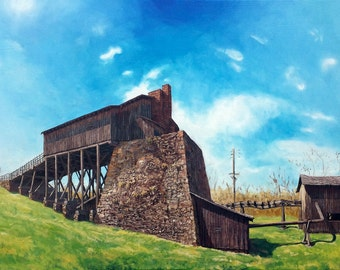 """Curtin Furnace, Oil on 24x36"""" canvas, by Sean Bodley - Original Oil Landscape Painting - Curtin Village Art - Pennsylvania Realist Painting"""