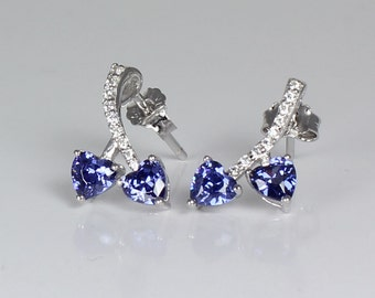 Tanzanite Sterling Silver Earrings with Diamond Accents / Tanzanite Silver Earrings Stud