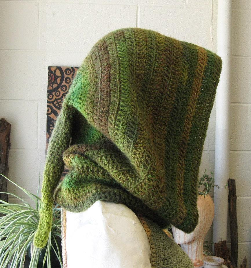 Elven Forest Hood Crochet Hood Wool Elven Hood Druid