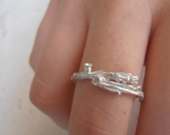 Silver Twig ring, Branch Engagment ring, Precious stone twig ring,Galilee wild shrubs thick ring made to order