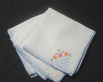 Set of 4, 1960s Vintage Bridge, Tea, or Luncheon Linen Napkins with Hand Embroidered Flowers & Blue Buttonhole Edge, Vintage Linens, Decor