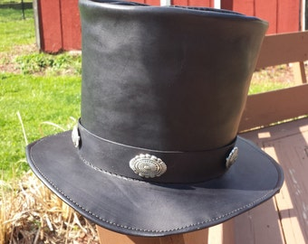 Leather Mad Hatter tophat with silver concho accents