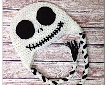 MADE TO ORDER, Jack Skellington hat, newborn to lg. Adult, sizes
