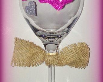 Hand Painted Wine Glasses, Burlap Wine Glasses, State Wine Glasses, Love My State Glasses