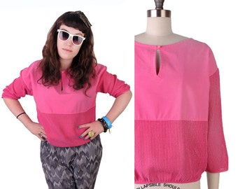 Geo Slouch Blouse / Vintage 1980s PINK CUT-OUT Sheer Mesh Slouchy Cotton Blouse Midriff Crop 80s New Wave Cute Spring Oversize Shirt Top S/M