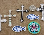 7 Assorted Cross & Religious Patches - Faith, Metallic Crosses, Flower, Cross   - Iron On Patches