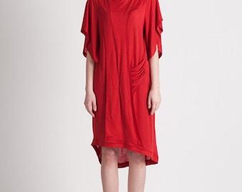 30% Season Off_Monica Kate Unsymmetrisch Tencel Dress_Red