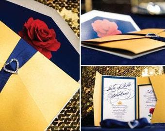 beauty and the beast invitations | etsy, Wedding invitations