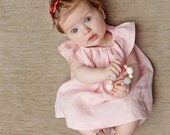 Baby girl Baptism dress and diaper cover, linen Baptisms dress, linen summer dress, baby girl dress set