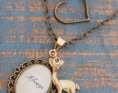 Love Always Doe Necklace, Long Layered Necklace, Antique Brass and Gold Doe Always Necklace with Heart Charm