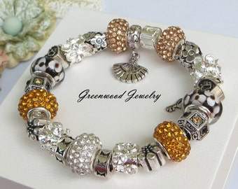 Autumn Days - European Style Charm Bracelet - Lampwork Glass And Crystal Beads and Charms