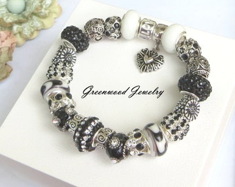 Black and White - European Style Charm Bracelet - Lampwork Glass And Crystal Beads and Charms