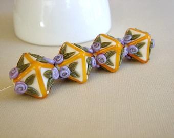 SRA Handmade Lampwork Beads, Floral Glass Beads, Destash Lampwork Beads, 4 pieces