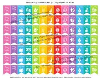 "Payday Flag Printable Planner Stickers Banner Calendar Agenda Organization 1"" H x 0.75"" wide Erin Condren, Plum Paper or other planner -F004"