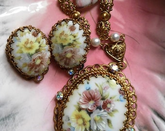 1950 Vintage Floral Pendant with Matching Clip on Earrings Made in West Germany