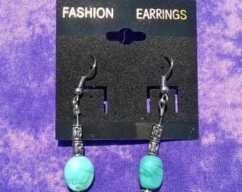 Turquoise & pewter bead earrings